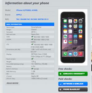 Broken Smartphone Info Check