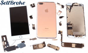 Broken iPhone 7 in parts