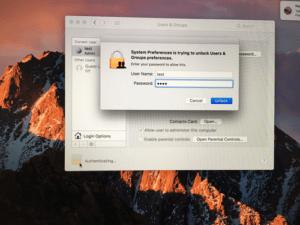 Unlocking User Preferences on a Macbook Pro