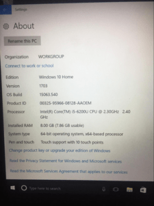 About your laptop computer info page